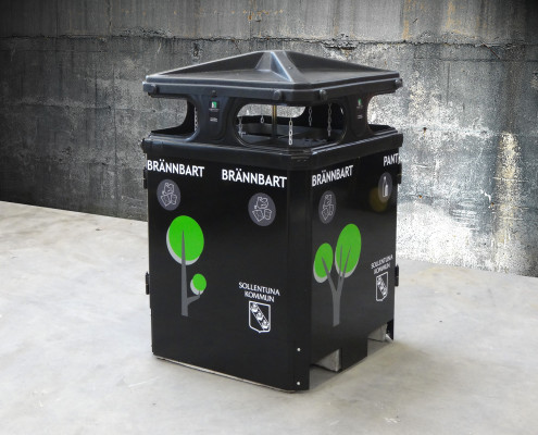 Sortify recycling bin for public outdoor places